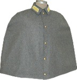 Confederate Officers Cape in medium grey with captain's collar insignia, American Civil War Military uniform