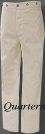 CSMC Summer Trousers, White Duck (Confederate Marine Corps)