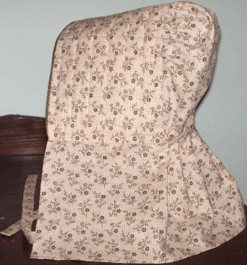 Girls Long quilted bonnet, 19th Century (1800s) Girls Accessories