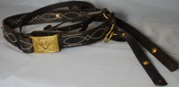 Officers Cavalry Sabre Belt with Fancy Stitching, U.S. Black Leather