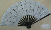 Ladies Hand Fan, White Lace with Silver Thread in Blackl Frame