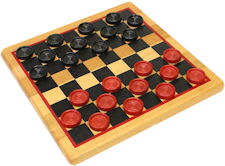 Checker pieces, red and black painted wood with board