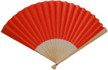 Ladies Hand Fan, Bamboo with Red Paper